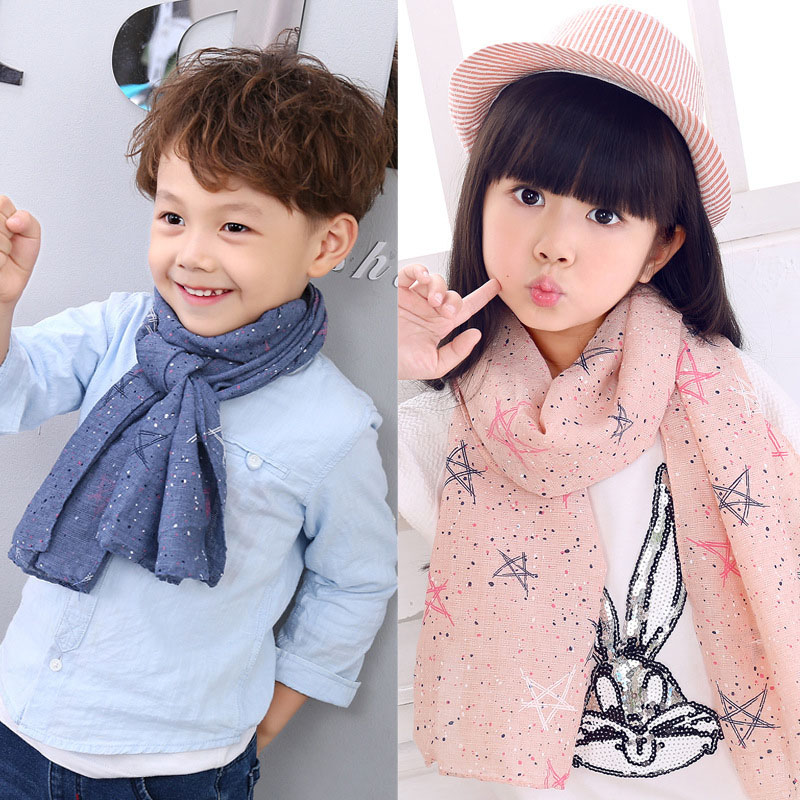 New Spring Girls Boys Printed   Scarf   Kids Cotton   Scarves   Neck Ring Cute Warm   Scarf   For Children Linen Soft Thin   Wrap   Breathable