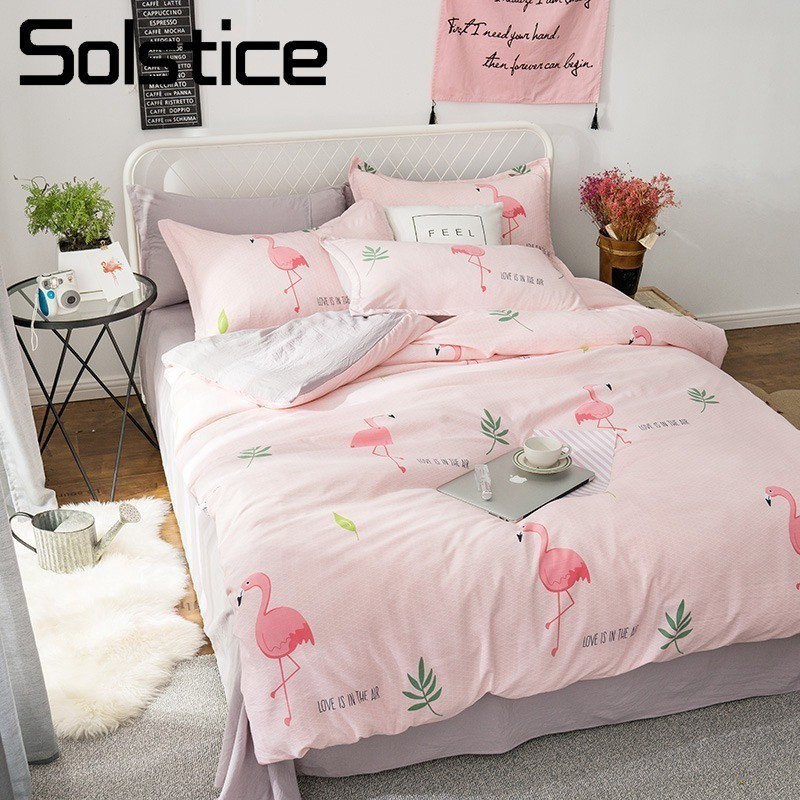 Solstice Home Textile Pink Flamingo Soft Duvet Cover Pillowcase Flat Sheet Girl Teen Adult Woman Bedding Set Twin King Bed LinenSolstice Home Textile Pink Flamingo Soft Duvet Cover Pillowcase Flat Sheet Girl Teen Adult Woman Bedding Set Twin King Bed Linen