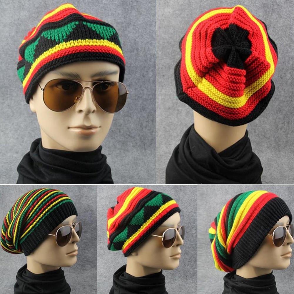 4f04c545beb Winter Hip Hop Bob cap Rasta Reggae Hat Multi-colour Skull Striped Crochet Beanie  Hats