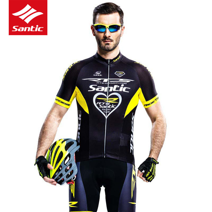 Santic Cycling Jersey Men Set Short Sleeve PRO Team Tour de France Race Bike Bicycle Jersey Cyclist Clothing Conjuntos Ciclismo veobike men long sleeves hooded waterproof windbreak sunscreen outdoor sport raincoat bike jersey bicycle cycling jacket