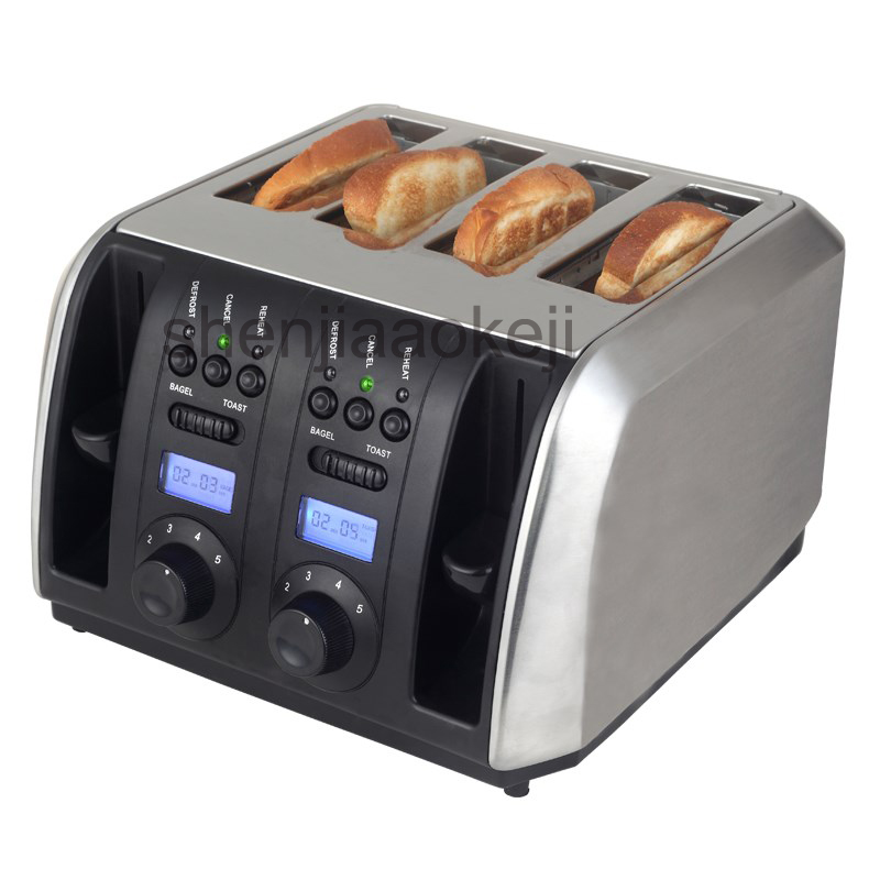 Household 4 slices toaster Stainless Steel toaster baking machine Commerical Multifunctional toaster 220v/50HZ 1750w 1pc цена и фото