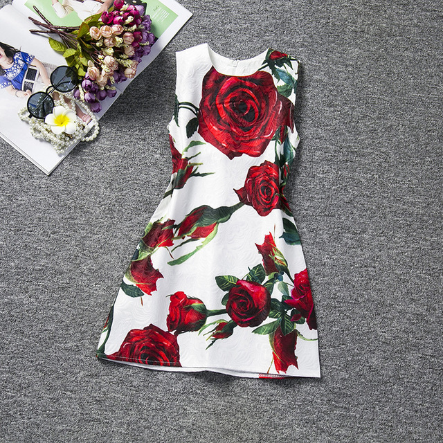 New Children's Clothing Rose Printed Vest Girl Dress Sleeveless Round Collar Princess Dress Baby Party Frocks For Kids Clothes