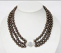 Free Shipping >>Amazing! 3rows round 8mm coffee chocolate sea shell pearls necklace 925ss E2267