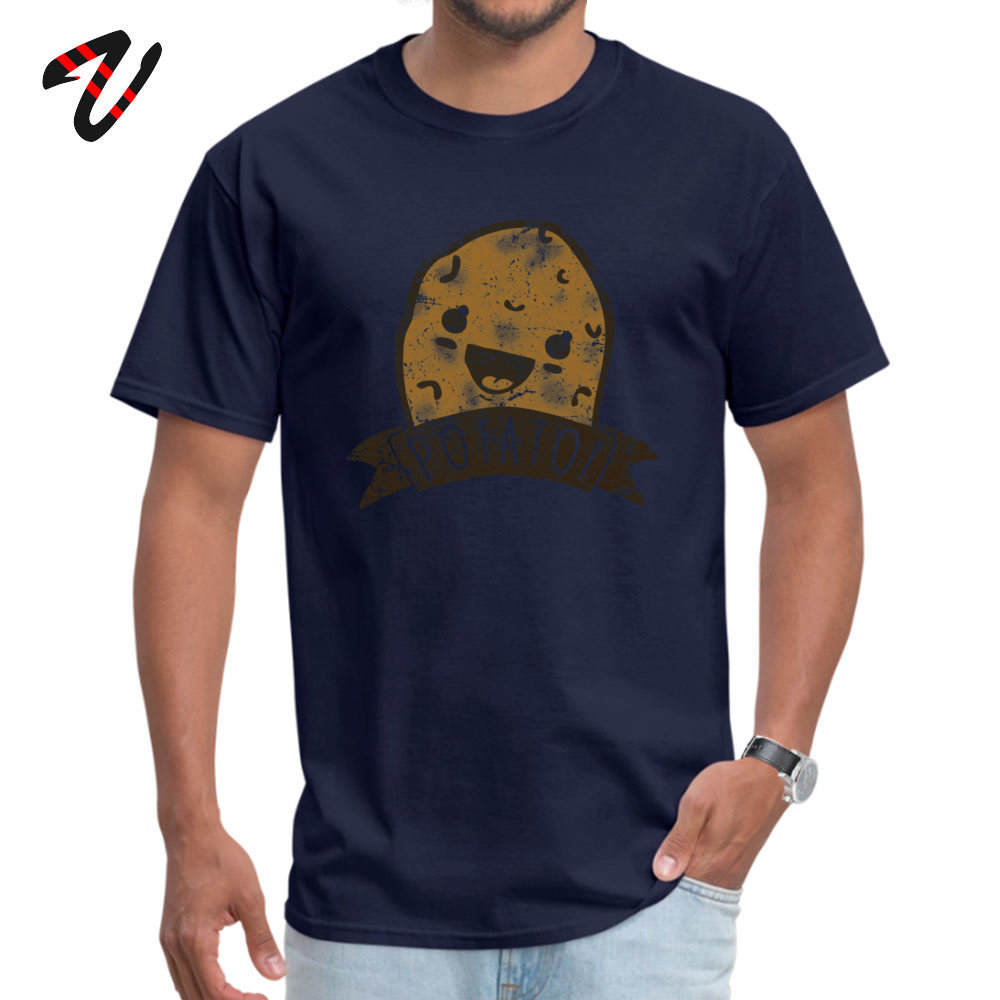 POTATO comfortable T-shirts for Men All Cotton Thanksgiving Day Tops Shirt Print Tee-Shirts Short Sleeve 2019 Discount O-Neck POTATO 557 navy
