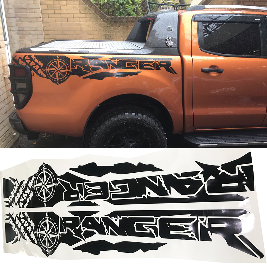 tire print compass adventure off road vinyl graphics decals car stickers for Ford Ranger and wildtrack