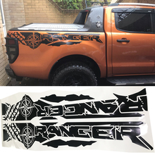 tire print compass adventure off road vinyl graphics decals car stickers for Ford Ranger and wildtrack Bed box недорго, оригинальная цена
