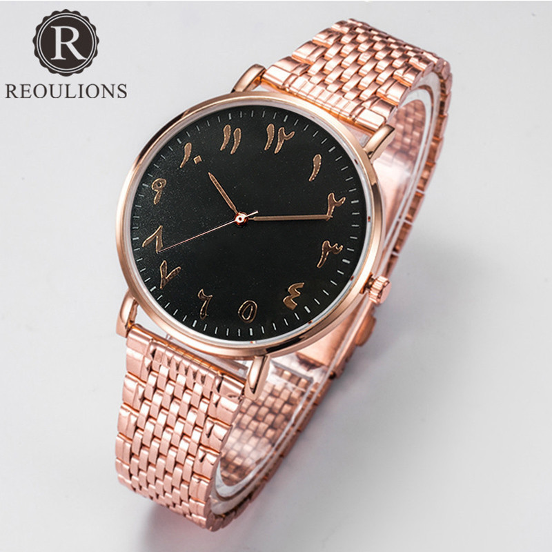 REOULIONS Top Luxury Brand Fashion Arabski Numbers Watch Stainless - Zegarki damskie - Zdjęcie 3