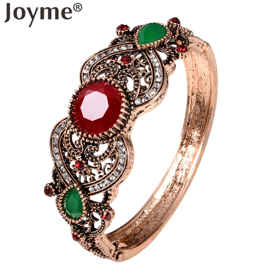 Baru Perhiasan Turki Pesona Gelang Manset Antik & Gelang Untuk Wanita Antique Emas-Warna Bohemia Indian Bangles Bijoux