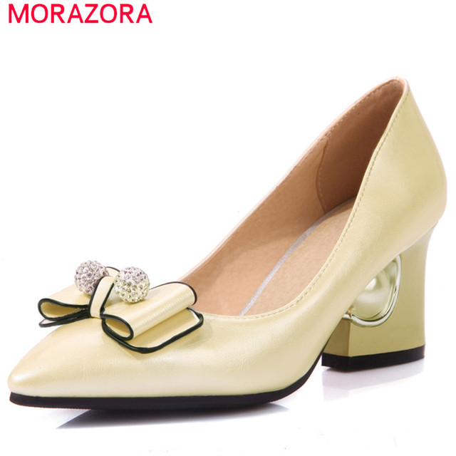 MORAZORA Elegant fashion high heels shoes wedding party shallow women shoes big size 33-48 single shoes bowtie pumps spring