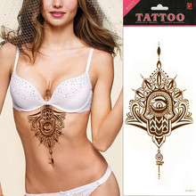 1pc Sexy Chest Bikini Tattoo Stickers Large Shoulder Arm Gold Sternum Tattoo Sleeve Body Back Paint Flash Tattoo Girls