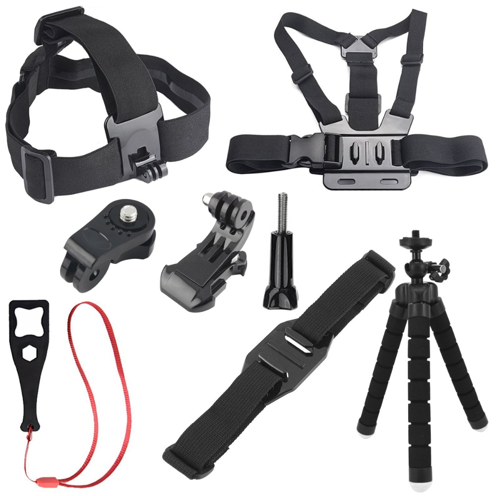 8 in 1 Accessories Octopus Tripod Monopod Head Chest Strap for Sony Mini Cam Action Camera HDR AS20 AS30V AS15V AS200V AS300