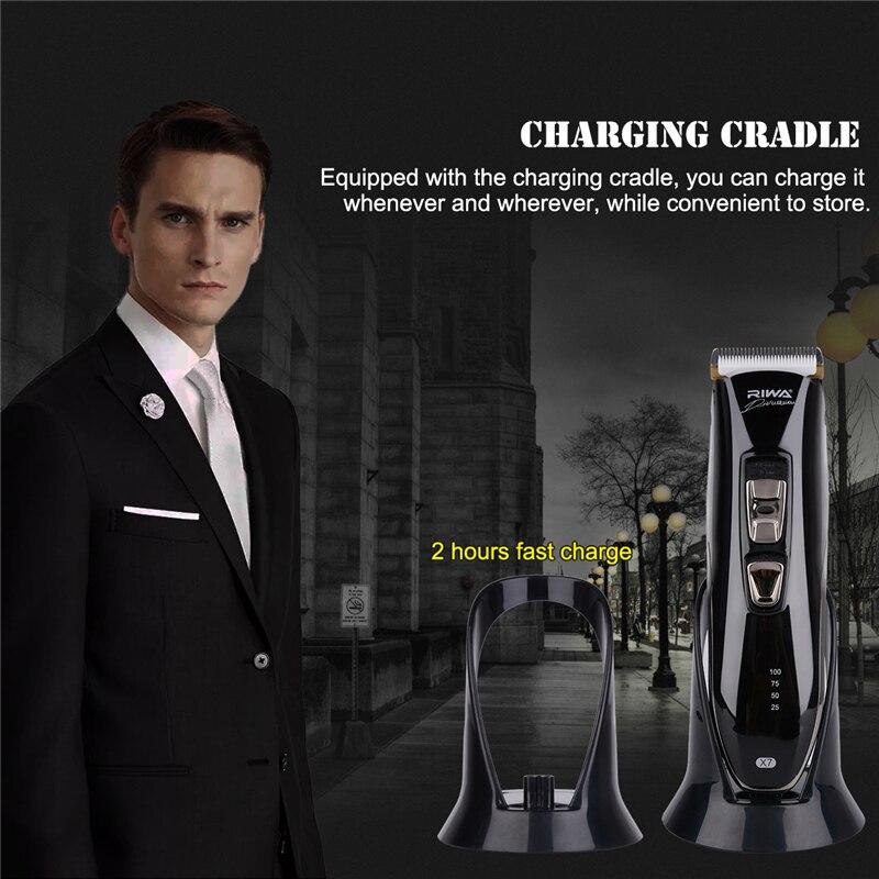 Machine à faible bruit de Kit de coupe de cheveux de coupeur de tondeuse électrique imperméable Rechargeable en céramique titanique avec le berceau de charge - 2