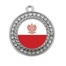 Польский флаг круг Шарм антикварные серебряные позолоченные украшения