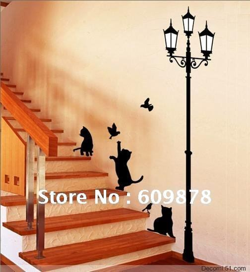 Free Shipping Popular Ancient Lamp Cats and Birds Wall Sticker Wall Mural Beautiful Black PVC Home Room Art Decor+a free gift