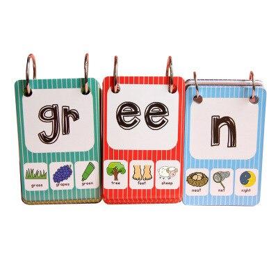 Anglais phonics cartes apprentissage anglais livre Instrument 26 lettres maternelle naturel orthographe phonics cartes pour enfants