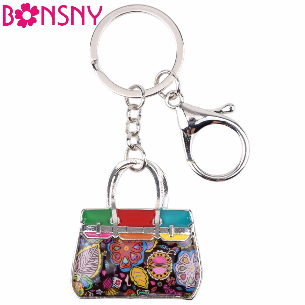 Bonsny Enamel Alloy Floral Handbag Key Chain Keychains Ring Novelty Jewelry For Women Girls Gift Bag Car Pendant Charms Original