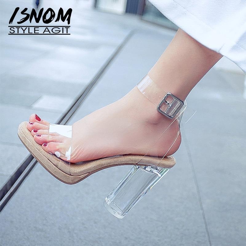 ISNOM Transparent High Heels Sandals Open Toe Footwear Women Sandals Shoes Fashion Ankle Strap Female Platform