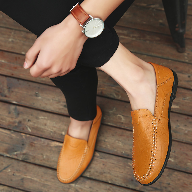 Summer Men Shoes Casual Luxury Brand Genuine Leather Mens Loafers Moccasins Italian Breathable Slip on Boat Shoes JKPUDUN
