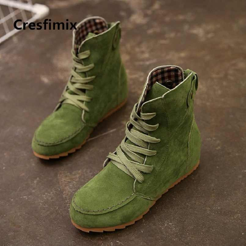 Cresfimix/женские модные удобные ботинки до середины голени на шнуровке; сезон осень-зима; женские повседневные уличные ботинки коричневого цвета; Красивая крутая обувь; a2835
