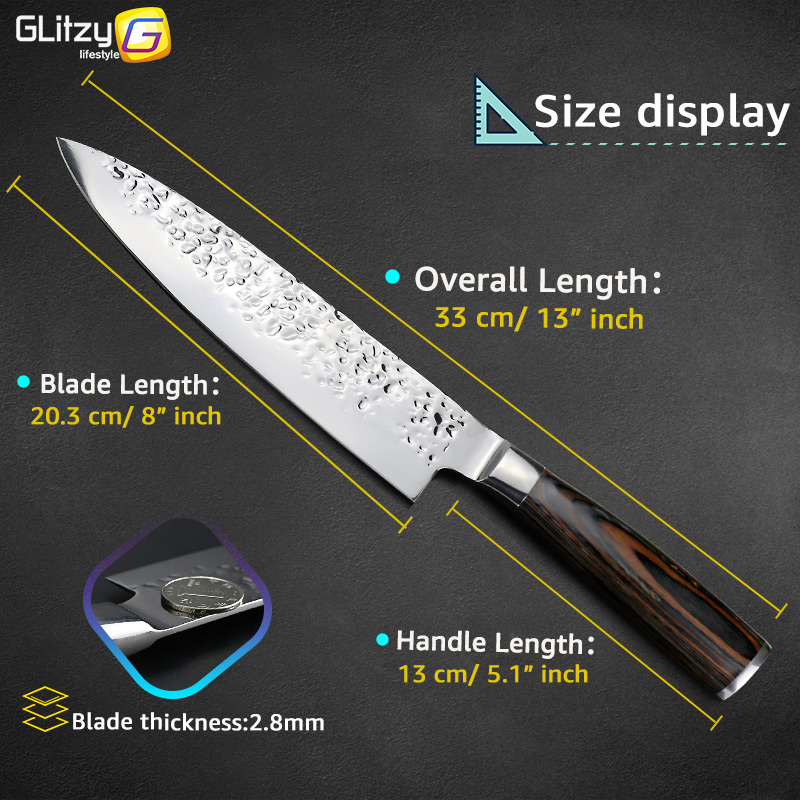 Kuća i bašta ... Kuhinja i trpezarija ... 32800950776 ... 5 ... Kitchen Knife 8 inch Professional Japanese Chef Knives 7CR17 440C High Carbon Stainless Steel Meat Cleaver Slicer Santoku Knife ...