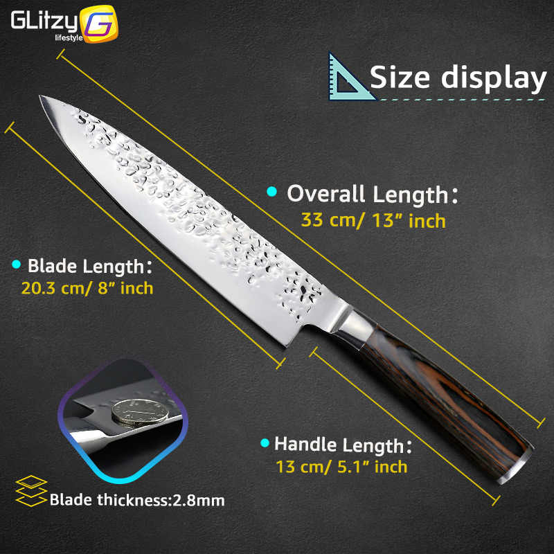 Kitchen Knife 8 inch Professional Japanese Chef Knives 7CR17 440C High Carbon Stainless Steel Meat Cleaver Slicer Santoku Knife