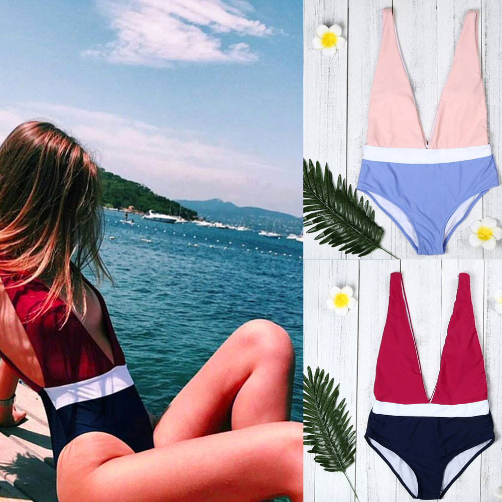 Womail Swimwear Women 2018 one piece swimsuit monokini Sexy Patchwork Bikini Bodysuit Padded Bra Swiming suit #1819