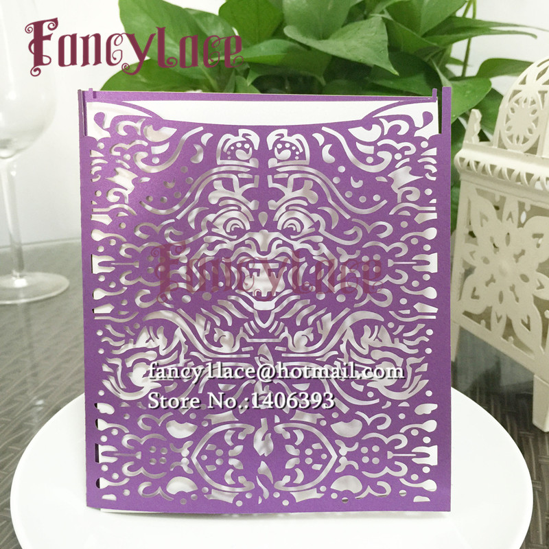 12x pearl paper laser cut wedding invitations cards for Blank chinese wedding invitations