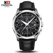 Carnaval popular marca de los hombres mecánicos automáticos relojes de múltiples funciones de lujo de moda llena de acero correa de reloj de cuero genuino