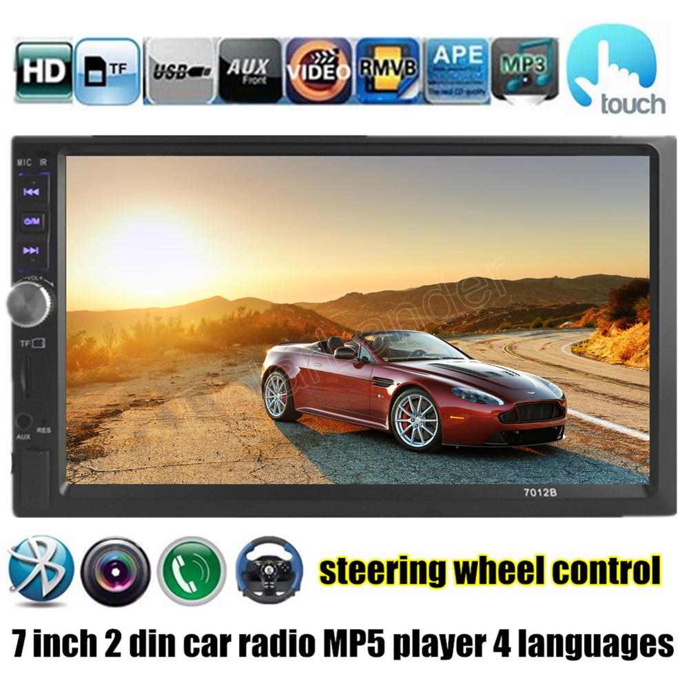 7 inch touch screen Car radio MP5 MP4 player 2 DIN 12V stereo USB/TF/AUX/FM bluetooth support rear camera steering wheel control