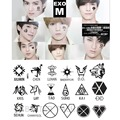 2015 new 2pcs/lot exo Men wolf LogoTemporary tattoo stickers body face arm fans star warterproof stickers