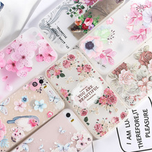 For iPhone 5 5S Case Luxury Phone X XR XS Max SE 7 8 6 6S Plus 3D Relief Flower Floral Silicone TPU Matte Cover