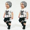 2017 venta caliente Bebé ropa de los muchachos establece infantil de manga corta patrón de la Camiseta + Pantalones Ropa del bebé Rana recién nacido ropa