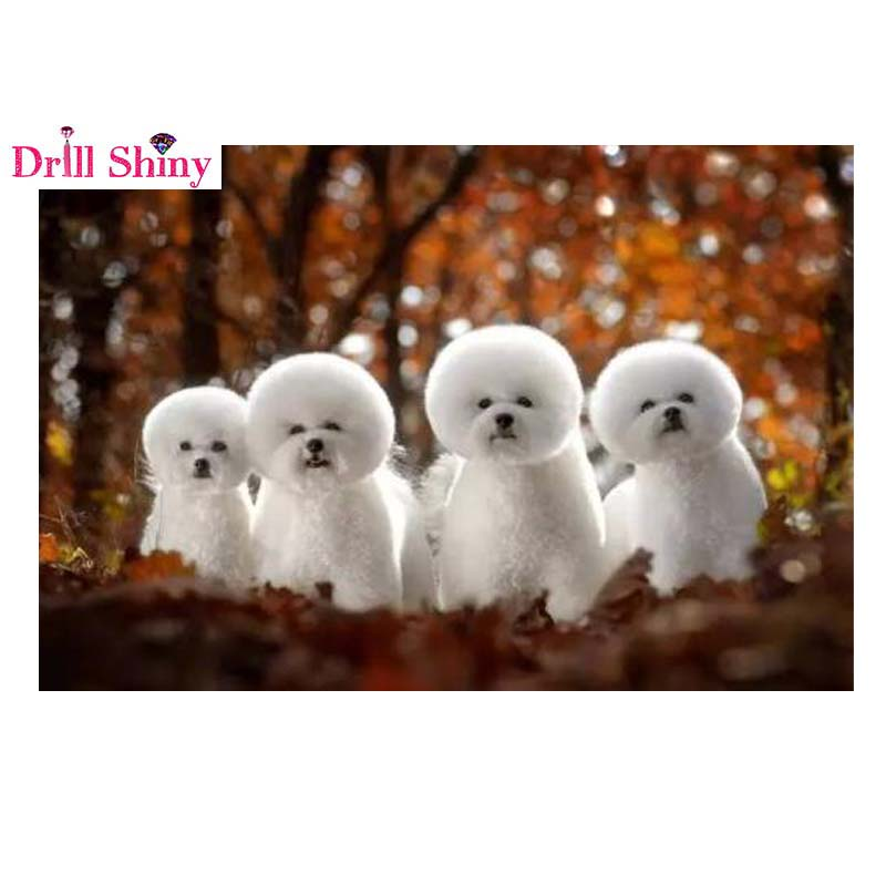 5D Diamond Painting 100% Full Square Drill Home Decoration Cross Stitch Mosaic Embroidery Needlework Dogs