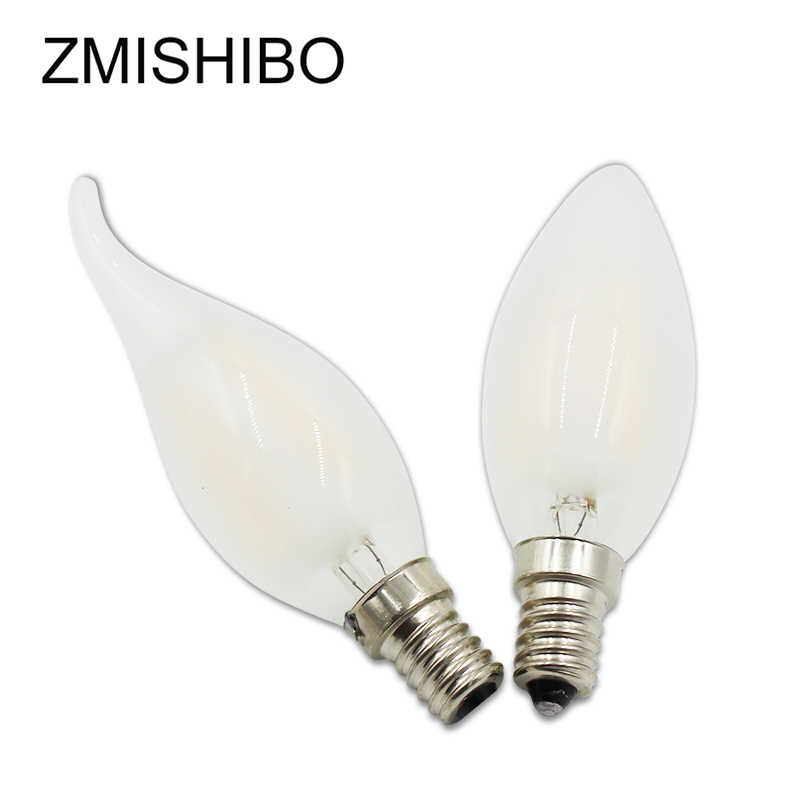 ZMISHIBO Frosted Edison Filament LED Bulb 100-240V E14 C37 Candle 2/4 LED With Tail Glass Cover No Flicker For Chandelier Lamp