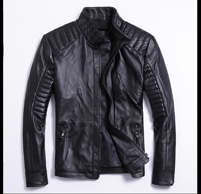 Free shipping.classic style,Plus size soft sheepskin leather Jacket, mens genuine Leather jacket.bikers slim coat,man sales