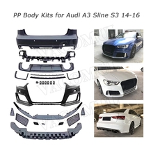 PP Material Wide Body Kit Front Lip Bumper Rear Hugger Back diffuser Spoiler for Audi A3 S3 RS3 Style