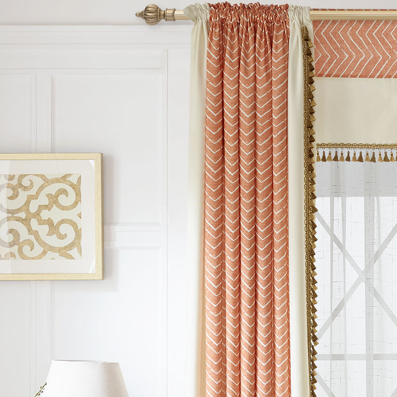 Striped Printed Curtains Bedroom Ready Made Window Panel Curtains Living  Room Modern Fabric Drapes Orange Luxury Custom Blinds In Curtains From Home  ...