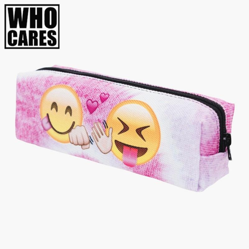 Emoji Friends Pink 3D Printing cosmetic bag 2016 Fashion New women makeup bag Pencil neceser maquillaje trousse de school bags