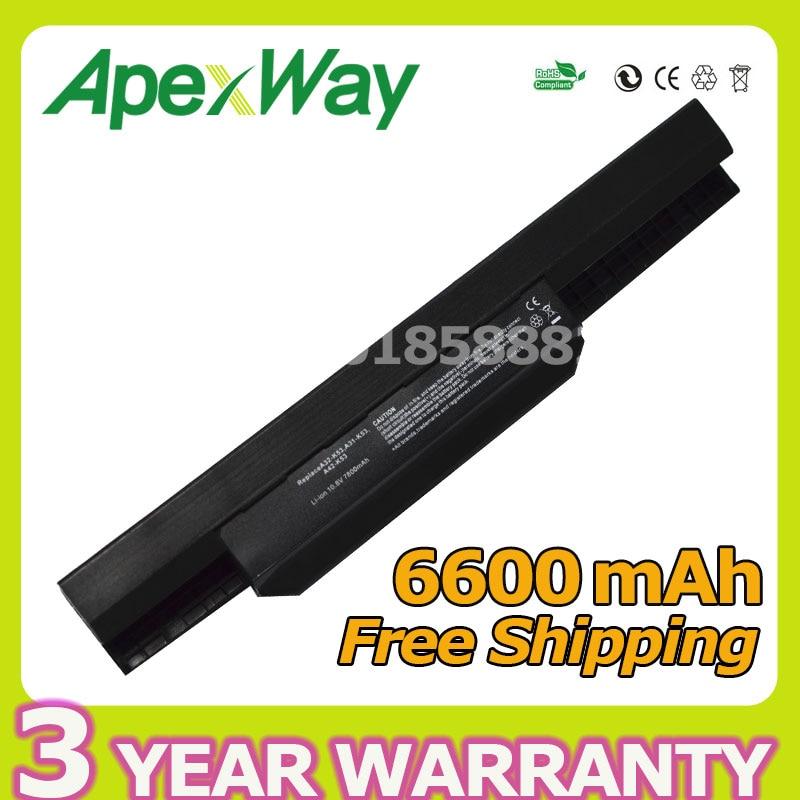 Apexway 6600 mah batterie pour Asus A32-K53 A42-K53 K53 K53B K53E K53F K53J K53S K53SJ K53SV K53T K53U A43 A53 k43 X43 X44 X54 X84