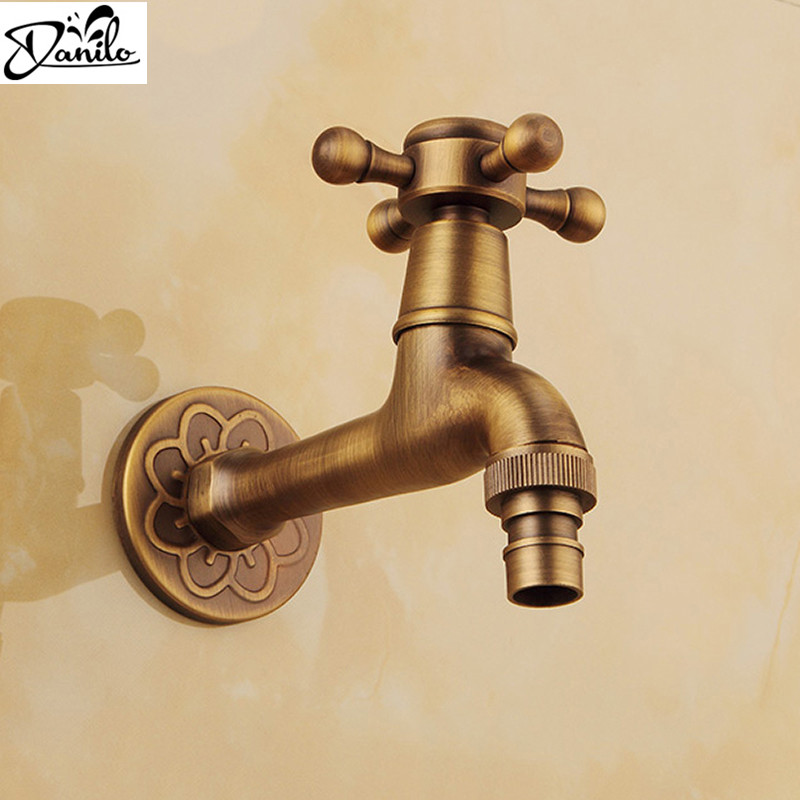 Captivating Luxury Decorative Outdoor Bibcock Garden Faucet Tap Antique Brass Finish  Bathroom Wall Mount Washing Machine Water Faucet Taps In Bibcocks From Home  ...