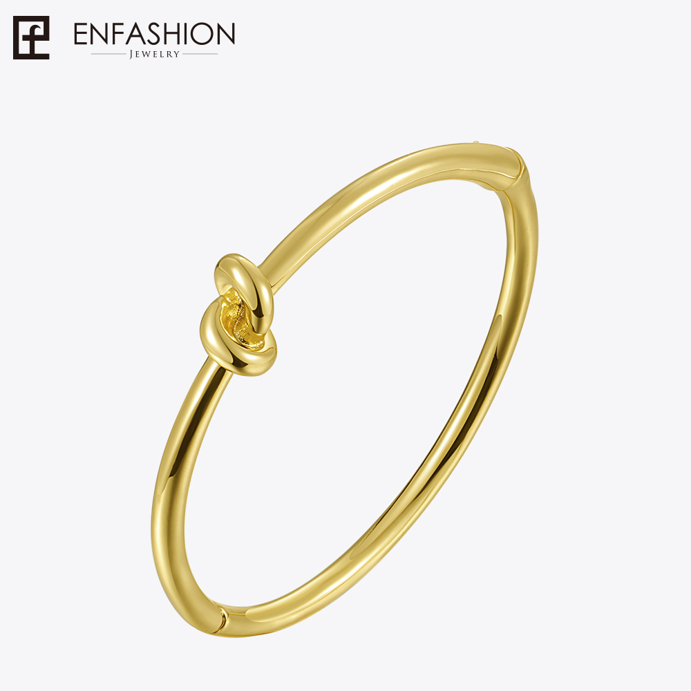 Enfashion Punk Knot Cuff Bracelets for Women Gold Color Bangle Bracelet Cuff Bangles Jewelry Noeud armband Pulseiras цена 2017