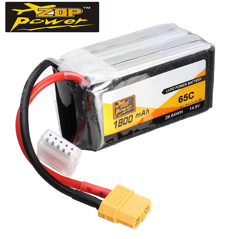 High Quality ZOP Power 14.8V 1800mAh 65C 4S Lipo Battery XT60 Plug For RC FPV Racing Camera Drone Spare Parts Accessories high quality zop power 14 8v 2200mah 4s 45c lipo battery t plug rechargeable lipo battery for rc helicopter part