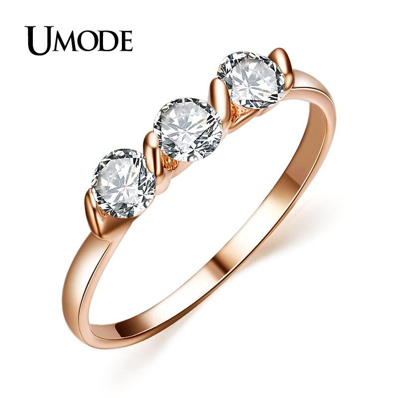 UMODE Женские ювелирные украшения: кольца с покрытием из розового золота 18к и 3 фианитами 0,25к JR0063A ...