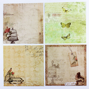 ENOGREETING vintage old-fashion matt art paper sheets handmade scrapbooking paper kit of 20pcs birds/butterfly pattern