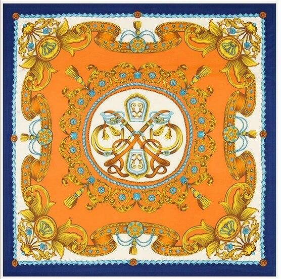 2016 женщин шелковый шарф 130 * 130 см женщина осень большой площади 100% шелк саржевые шарф бренд печать шелковые платки обертывания шарфы пашмины