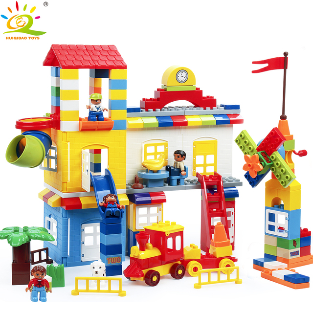 216pcs DIY Big size Family House with Animal Figures Building Blocks Compatible legoing Duploe Train City Brick Toy For Children