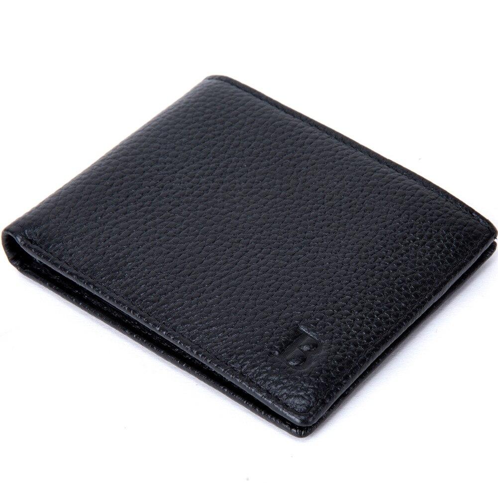 De los hombres Cartera de cuero genuino cartera moneda monedero Negro estilo corto