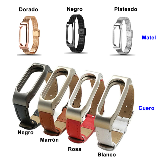 85887d316c69 € 12.46 |Correa de muñeca de metal de moda y reemplazo de pulsera de tira  de cuero para Xiaomi Mi band 2 pulseras en Accesorios inteligentes de ...