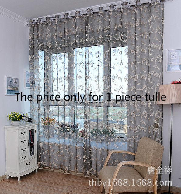 High Quality Window Curtains Drapes Diy 1*2.7m Cool See Through Classical Beautiful  Floral White Gray