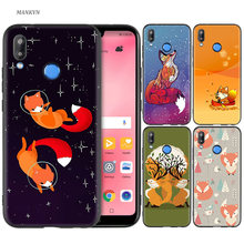 Black Silicone Case Bag Cover for Huawei P30 P20 P10 P9 P8 Mate 10 20 Lite 2017 Mini Pro P Smart Plus 2019 Cartoon Cute Fox(China)